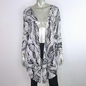 Lane Bryant Black Palm Leaf Cardigan Sweater 18/20